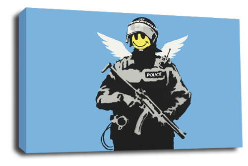Banksy Art Smiley Faced Copper Wall Canvas Peace Love Picture